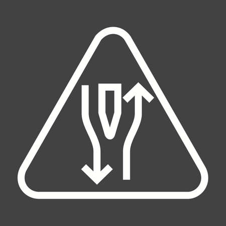 double lane: Road, straight, open icon vector image. Can also be used for traffic signs. Suitable for web apps, mobile apps and print media. Illustration