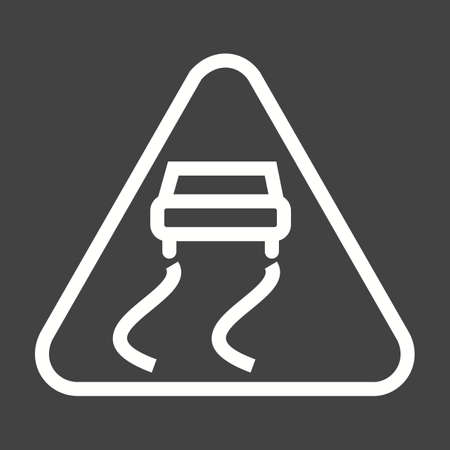 slips: Slippery, road, sign icon vector image. Can also be used for traffic signs. Suitable for web apps, mobile apps and print media.
