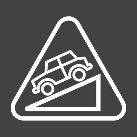 danger ahead: Down, warning, sign icon vector image. Can also be used for traffic signs. Suitable for web apps, mobile apps and print media.