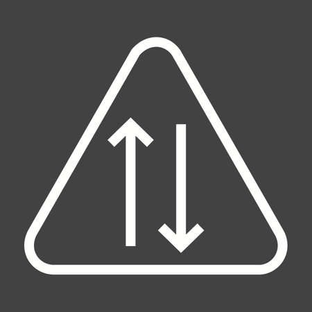 double lane: Way, sign, highway icon vector image. Can also be used for traffic signs. Suitable for web apps, mobile apps and print media.