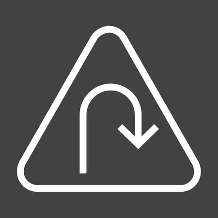 curve ahead sign: Turn, road, sign icon vector image. Can also be used for traffic signs. Suitable for web apps, mobile apps and print media.