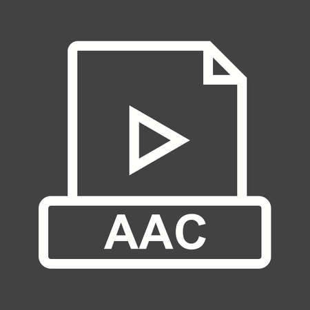 file types: AAC, flat, design icon vector image. Can also be used for file format, design and storage. Suitable for mobile apps, web apps and print media.