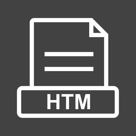 htm: HTM, file, html icon vector image. Can also be used for file format, design and storage. Suitable for mobile apps, web apps and print media. Illustration