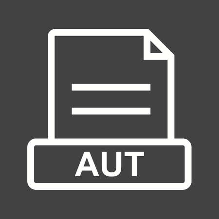 file extension: AUT, file, file extension icon vector image. Can also be used for file format, design and storage. Suitable for mobile apps, web apps and print media.
