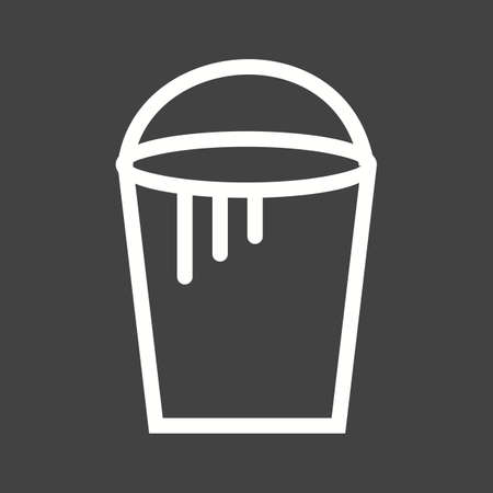 paint container: Bucket, paint, plastic icon vector image. Illustration