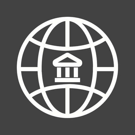 globális üzleti: Global, business, bank icon vector image.