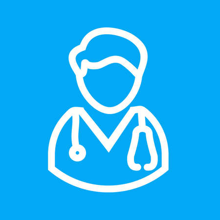 doctor tablet: Doctor, male, patient icon vector image. Can also be used for professionals. Suitable for web apps, mobile apps and print media. Illustration