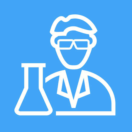 researcher: Scientist, medical, laboratory icon vector image.