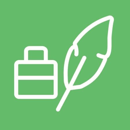 a poet: Feather, pen, quill icon vector image.