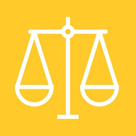 scale of justice: Justice, scale, law icon vector image.Can also be used for law and order. Suitable for mobile apps, web apps and print media.