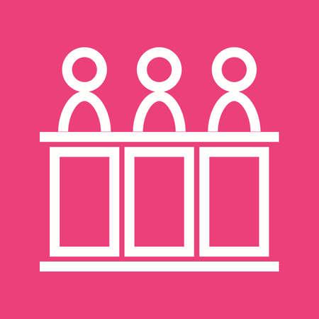 mandato judicial: El juez, el panel, icono de la corte del vector image.Can tambi�n ser utilizado para el orden p�blico. Adecuado para aplicaciones m�viles, aplicaciones web y medios impresos. Vectores