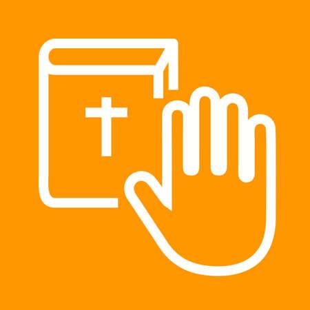 honestidad: Juramento, compromiso, honradez icono vector image.Can tambi�n ser utilizado para el orden p�blico. Adecuado para aplicaciones m�viles, aplicaciones web y medios impresos.