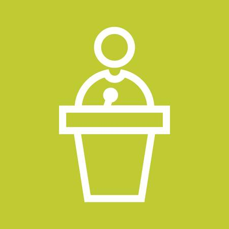 public speaker: Podium, public, speaker icon vector image. Can also be used for activities. Suitable for use on web apps, mobile apps and print media. Illustration