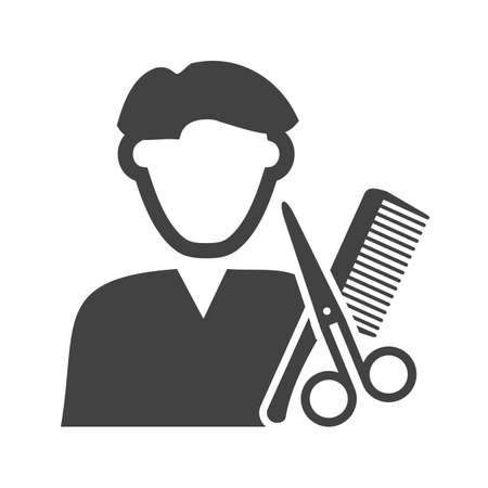 hairstylist: Barber, hair, shop icon vector image. Can also be used for professionals. Suitable for web apps, mobile apps and print media.