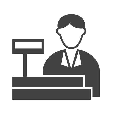 supermarket checkout: Cashier, bank, cash icon vector image. Can also be used for professionals. Suitable for web apps, mobile apps and print media.