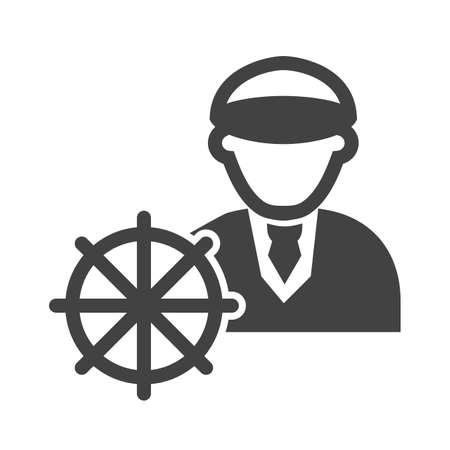 船長、船、ナビゲーション アイコン ベクトル画像。専門家のためにも使用できます。Web アプリ、携帯アプリ、印刷メディアに適しています。