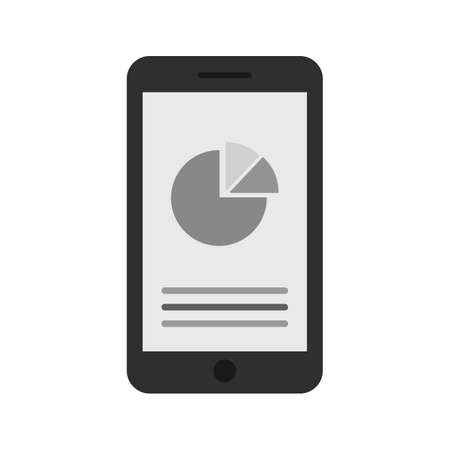 mobile marketing: Mobile, device, statistics, graph icon vector image. Can also be used for seo, digital marketing, technology. Suitable for use on web apps, mobile apps and print media.