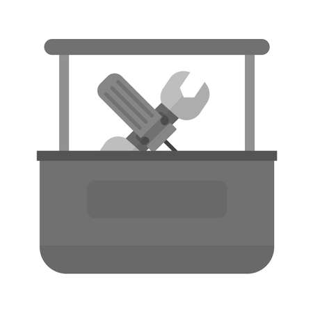 interiors: Tool box, box, container icon vector image. Can also be used for construction, interiors and building. Suitable for use on web apps, mobile apps and print media. Illustration
