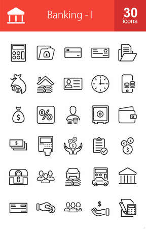 saving accounts: Banking, business, finance Iconset. Suitable for web apps, mobile apps and print media. Illustration