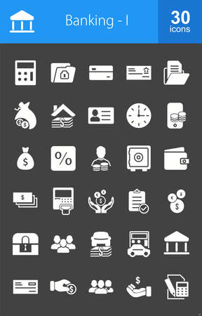 iconset: Banking, business, finance Iconset. Suitable for web apps, mobile apps and print media. Illustration