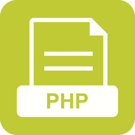 php: PHP, web, programming icon vector image. Can also be used for file format, design and storage. Suitable for mobile apps, web apps and print media.