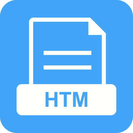 HTM, file, html icon vector image. Can also be used for file format, design and storage. Suitable for mobile apps, web apps and print media. Illustration