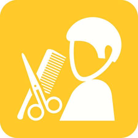 サロン, 美容師, 髪のアイコン ベクトル画像。専門家のためにも使用できます。Web アプリ、携帯アプリ、印刷メディアに適しています。