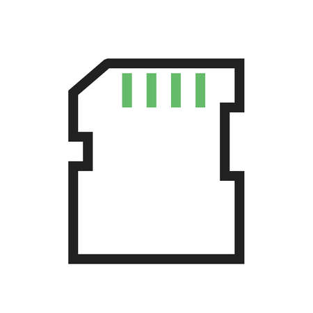 data storage device: SD card, memory card, card icon vector image. Can also be used for computer and hardware. Suitable for use on web apps, mobile apps and print media.