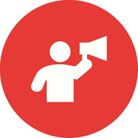 Megaphone, announcement, speaker icon vector image. Can also be used for activities. Suitable for use on web apps, mobile apps and print media. Illustration
