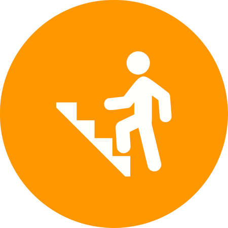 concrete stairs: Stairs, climbing, walking icon vector image. Can also be used for activities. Suitable for use on web apps, mobile apps and print media. Illustration