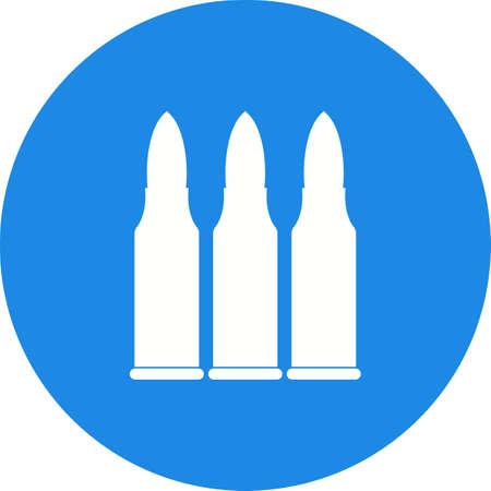 탄약: Bullets, gun, ammunition icon vector image. Can also be used for military. Suitable for use on web apps, mobile apps and print media.