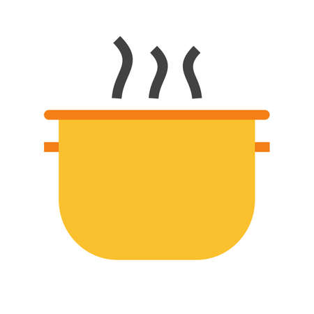 soup pot: Pot, cooking, soup icon vector image. Can also be used for household objects. Suitable for use on web apps, mobile apps and print media.