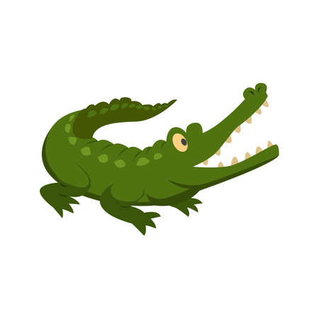 carnivore: Alligator, crocodile, green icon vector image. Can also be used for Animals and Insects. Suitable for mobile apps, web apps and print media. Illustration