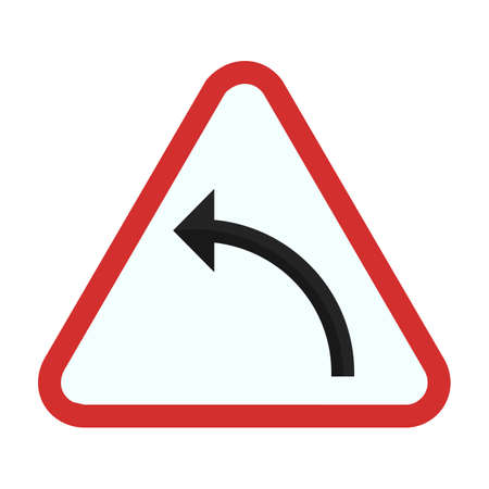 left arrow: arrow curve sign icon