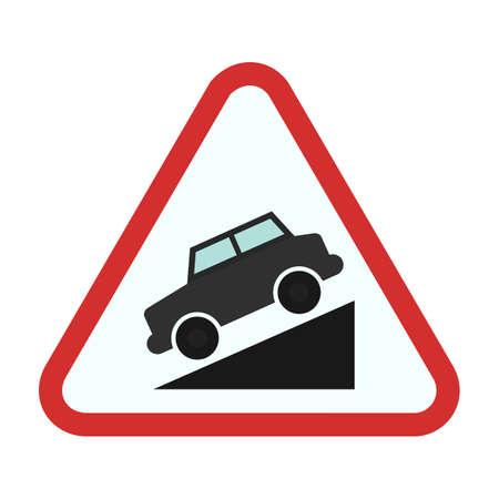 Down road warning sign icon Illustration