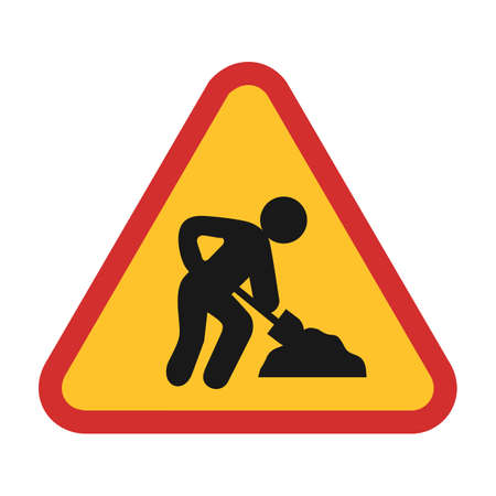 excavation: under Construction sign icon Illustration