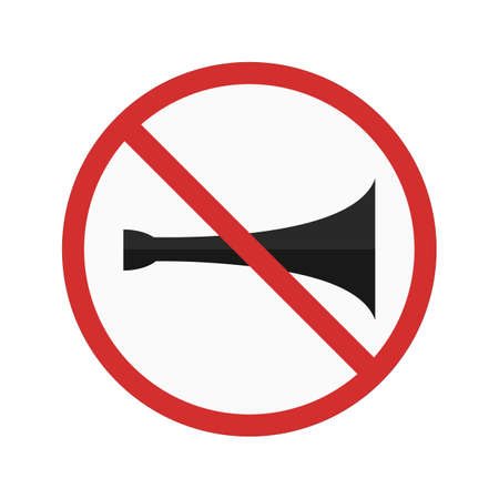 safe and sound: No horn sign icon Illustration