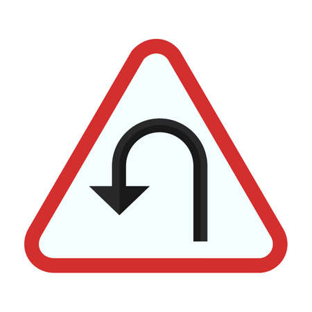 u turn: Turn sign icon Illustration