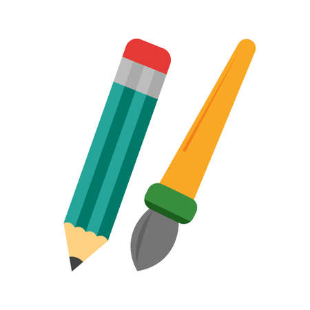 designing: Pencil, brush, palette icon vector image.Can also be used for art and designing. Suitable for mobile apps, web apps and print media.