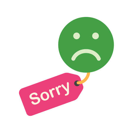 verontschuldiging: Signboard, apology, tag icon vector image. Can also be used for business, finance, technology, economics and accounting. Suitable for web apps, mobile apps and print media.