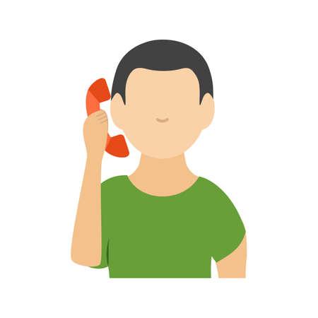 전화, 이야기, 남자 아이콘 벡터 이미지입니다. 활동에도 사용할 수 있습니다. 웹 응용 프로그램, 모바일 응용 프로그램 및 인쇄 매체에서 사용하기에