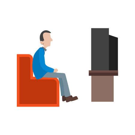 watching television: Watching, television, people icon vector image. Can also be used for activities. Suitable for use on web apps, mobile apps and print media.