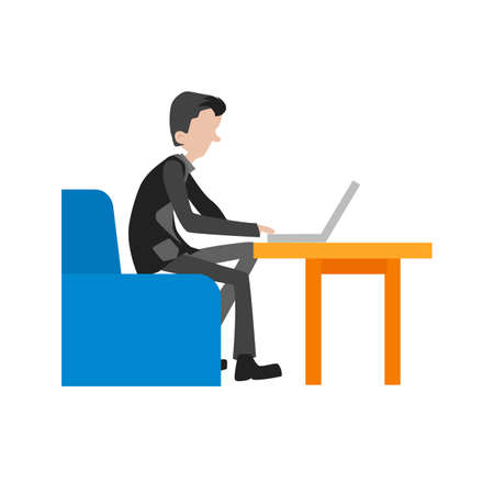 office computer: Laptop, working, businessman icon vector image. Can also be used for activities. Suitable for use on web apps, mobile apps and print media.