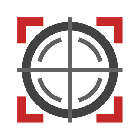 pistola: Target, arma, icono del círculo de la imagen del vector. También se puede utilizar para aplicaciones militares. Adecuado para su uso en aplicaciones web, aplicaciones móviles y material de impresión. Vectores