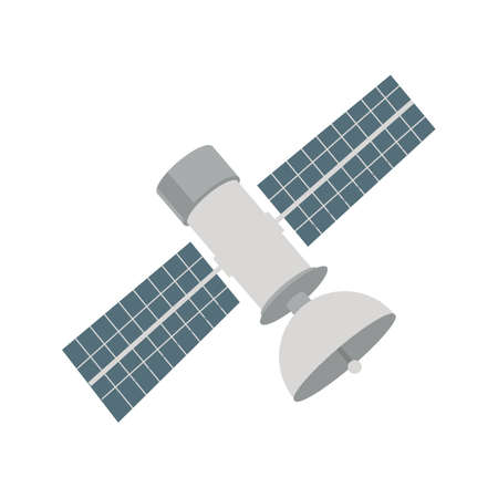 space station: Satellite, space, station icon vector image. Can also be used for military. Suitable for use on web apps, mobile apps and print media. Illustration