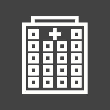 commercial medicine: Hospital, building, emergency icon vector image.Can also be used for building and landmarks . Suitable for mobile apps, web apps and print media.