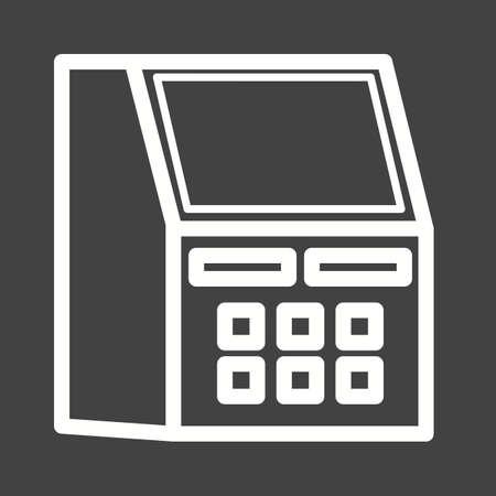 automatic transaction machine: Atm, recepci�n, icono de la tarjeta vector de imagen. Tambi�n se puede utilizar para el hotel y restaurante. Adecuado para su uso en aplicaciones web, aplicaciones m�viles y material de impresi�n.
