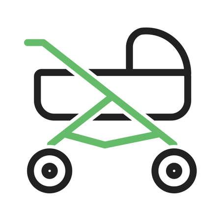 Stroller, baby, girl icon vector image.