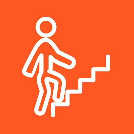 climbing stairs: Climbing, stairs, walking icon vector image. Can also be used for fitness and sports. Suitable for web apps, mobile apps and print media. Illustration