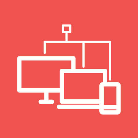 ftp: Connected, device, computer icon vector image. Can also be used for IT and communication. Suitable for use on web apps, mobile apps and print media.